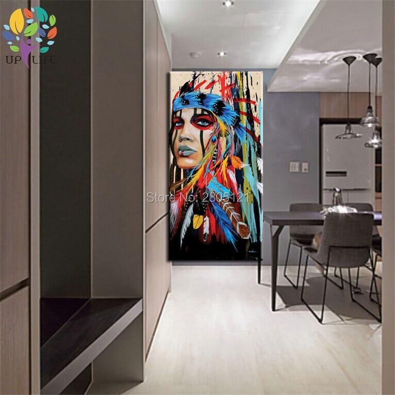 100% pictură în ulei american nativ american idian pictură în - Decoratiune interioara - Fotografie 6