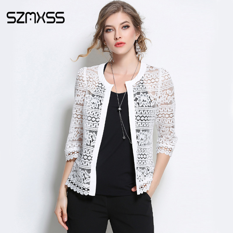 SZMXSS 2017 Plus Size Wome Clothing L-5XL Ladies White Lace Jacket Summer Cardigan Coat Black Crochet Hollow Out Outerwear