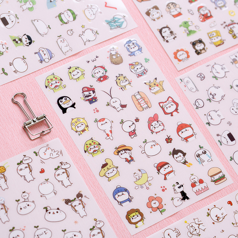 6sheets/lot Cartoon Decorative Sticker Kawaii Stickers PET Planner Stickers Sticky Notes Post It Papelaria
