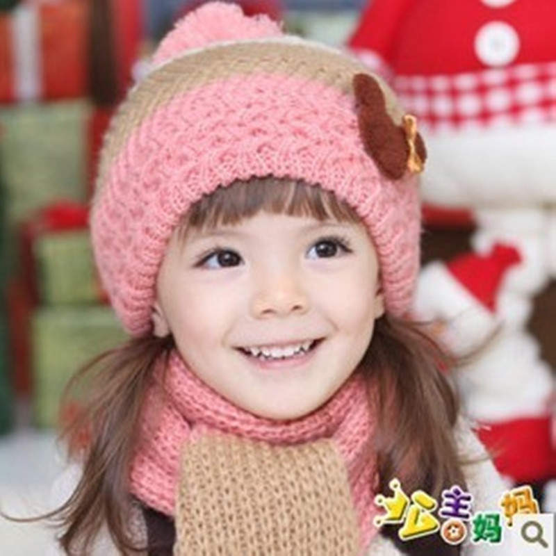 Hats and scarves set baby Beanies Korean infants baby girl and boy Children baby hat wool hat Wholesale winter and autumn hats