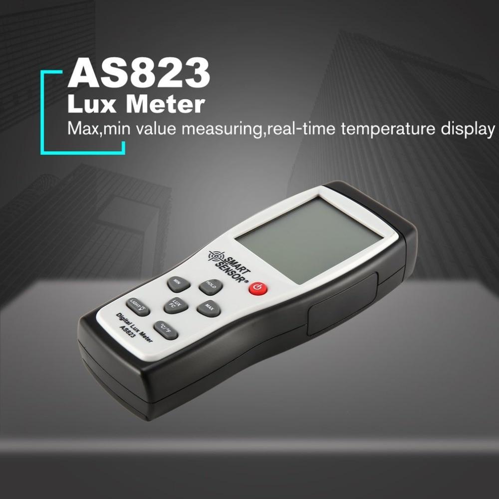 Smart Sensor AS823 Digital Handheld Light Lux Meter Illuminance 200 000 Lux FC Luminometer Photometer Lighting Tester Luxmeter in Glossmeters from Tools