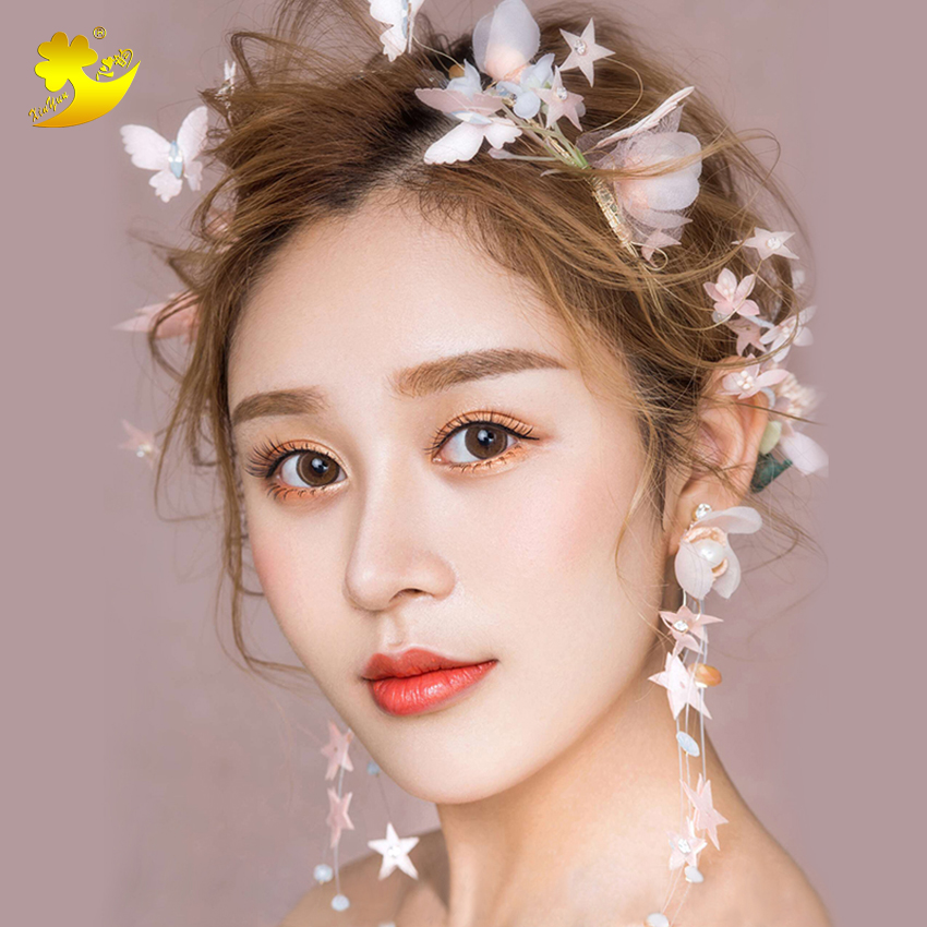 New Design fairy Silk Floral Headbands Handmade Flower   Headwear   hair band Women Photography Stage show Wedding Accessories