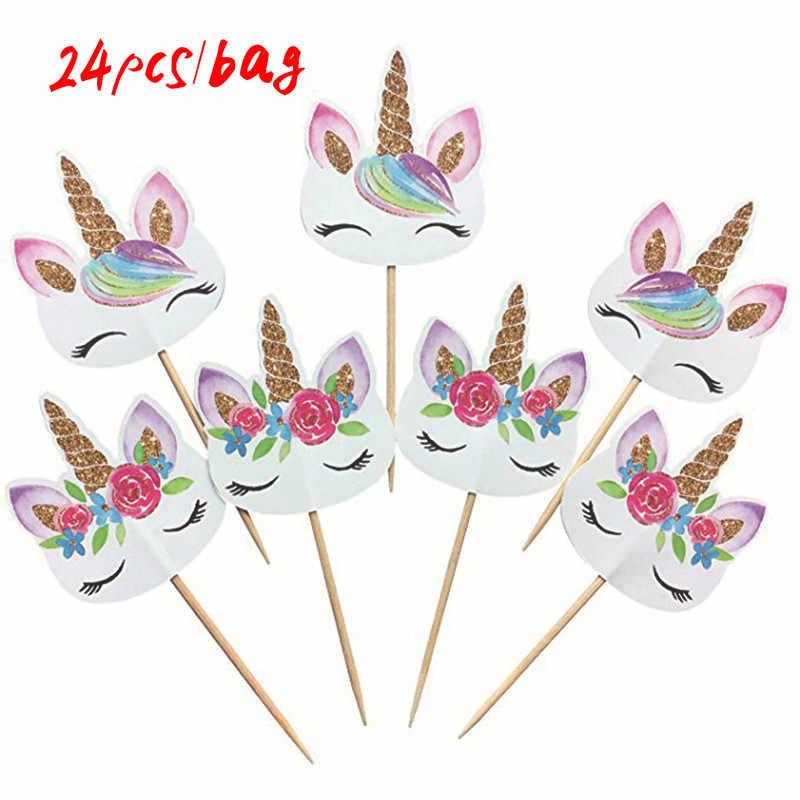 24 cái/túi Unicorn bánh toppers Unicorn bên bữa tiệc sinh nhật đám cưới bé tắm cupcake cờ home đảng bánh trang trí nguồn cung cấp
