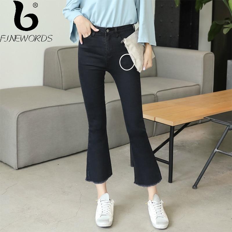 FINEWORDS 2017 Autumn Causal Harajuku Bell Bottom Skinny High Waist   Jeans   Push Up Black Slim Elastic Denim Wide Leg Flare Pants