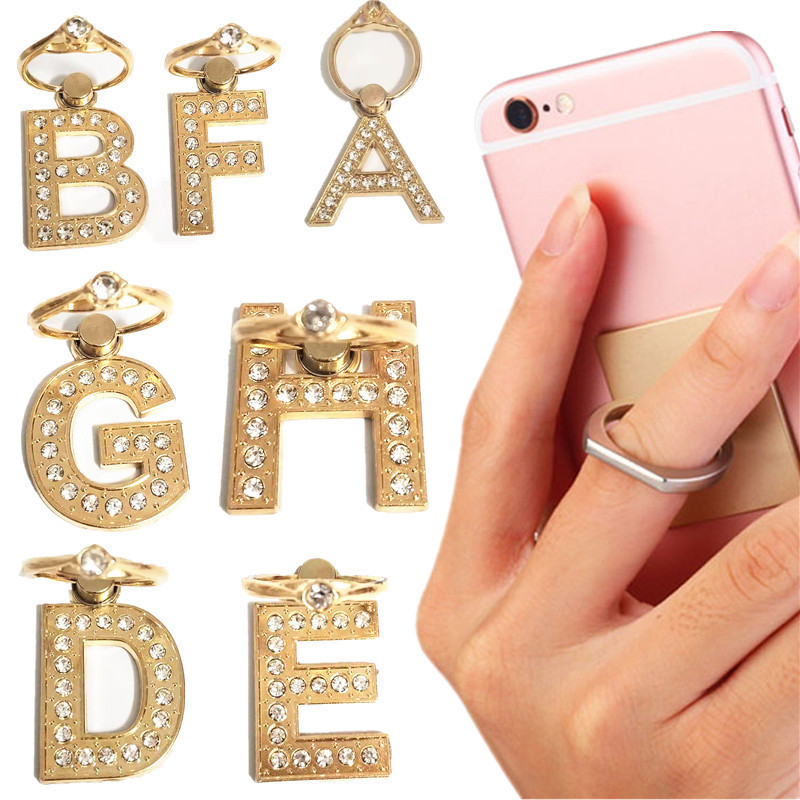 NEW 1PCS 360 Degree Diamond Metal Letter A-Z Finger Ring Smartphone Stand Holder Mobile Phone Holder For IPhone Huawei All Phone