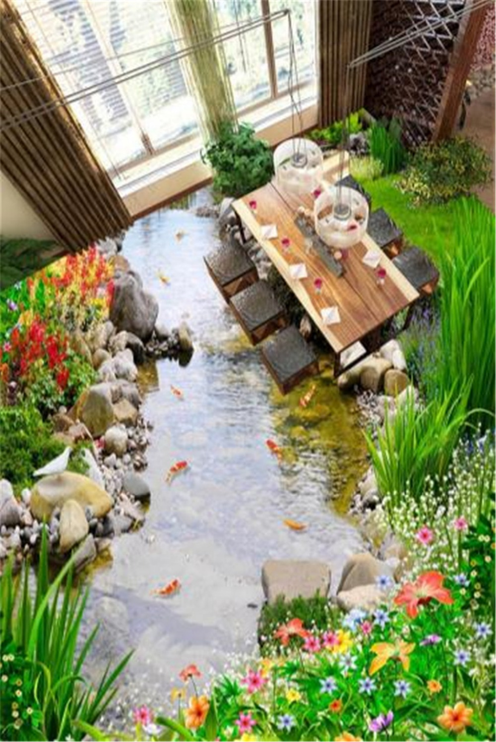 Custom Any Size 3D Mural Wallpa  Mysterious Garden, Small River, Water 3D Floor Interior Wallpaper MuralCustom Any Size 3D Mural Wallpa  Mysterious Garden, Small River, Water 3D Floor Interior Wallpaper Mural