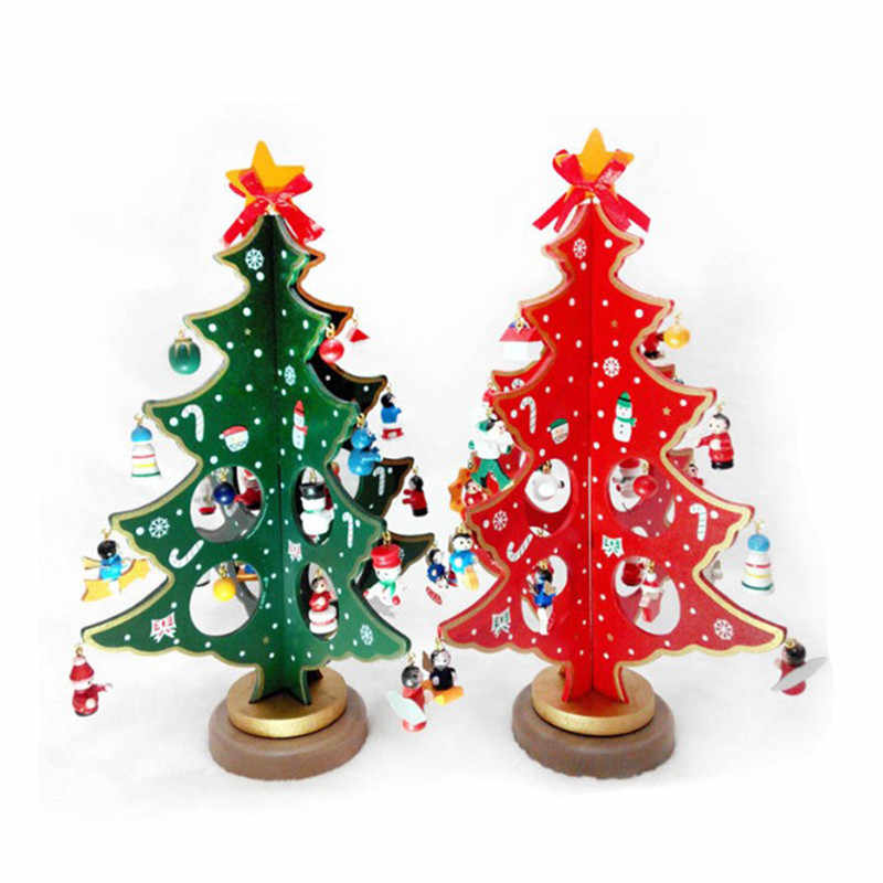 Creative DIY Wooden Christmas Tree Decoration Christmas Gift Ornament Xmas Tree Table Desk Decoration
