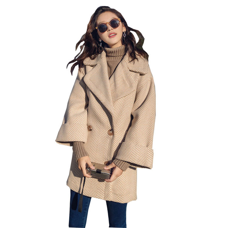 Winter Women Stripes Wool Coat parka 2017 Thick Warm Female Woolen Long Jacket Fashion Woman Outer wear manteau femme hiver WZ48