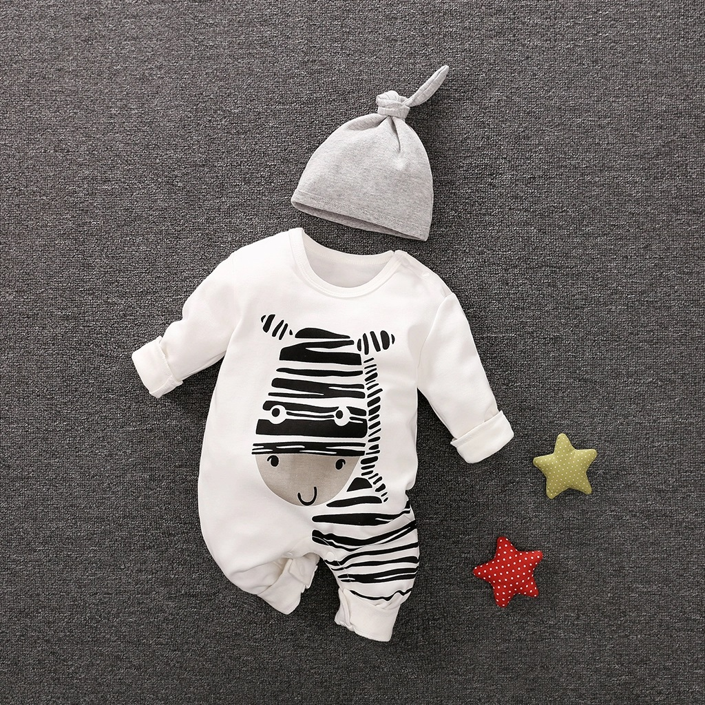 Playful Zebra Long Sleeve Cotton 2pcs Baby Girls Clothes Jumpsuit In White With Hat For Baby And Newborn Outfits Set Hot Sale
