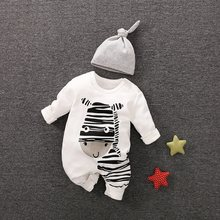 PatPat Playful Zebra Long Sleeve Cotton 2pcs Baby Girls Clothes Jumpsuit in White with Hat for Baby Newborn Outfits Set(China)