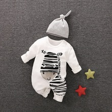 Playful Zebra Long Sleeve Cotton 2pcs Baby Girls Clothes Jumpsuit in White with Hat for and Newborn Outfits Set Hot Sale