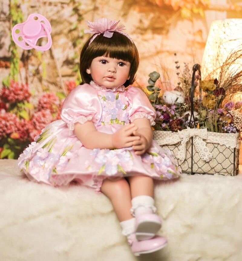 60 cm Silicone Reborn Bébé Poupée Jouets Vinyle Princesse Toddler Bébés Vivant Bebe Filles Bonecas Enfant Maison de Jeu de Cadeau D'anniversaire jouet