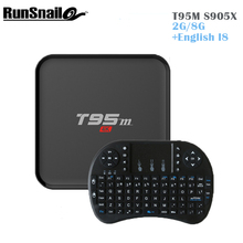 T95M Android Tv Box + Mini Wireless Gaming Keyboard 2GB 8GB with Bluetooth model with LED display Support KDPLAYER 16.0 Top Box
