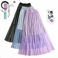 ORDEESON 2018 New Summer Women Girls Long A line Thin Pleated Metal Color Skirts Sexy Temperament Net Yarn Womens Clothing