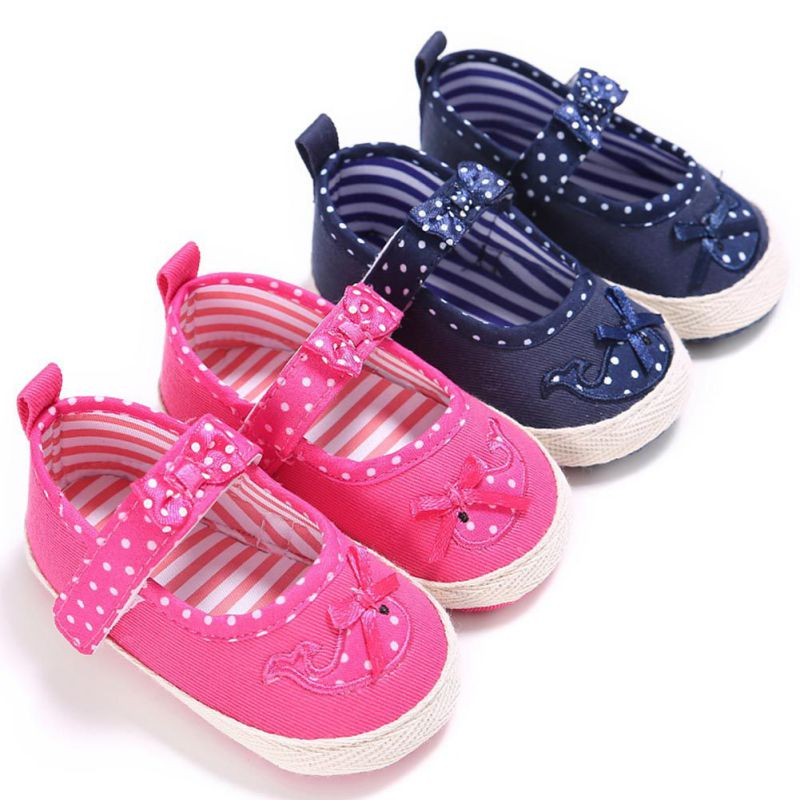 2018 New baby first walker shoes Polka Dot bow-knot kids girl Cloth Infant Toddler Soft Sole Crib Newborn Shoes footwear S2