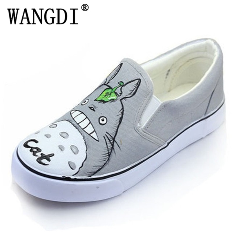 Hot Sale 2017 Autumn Women Hand Painted Canvas Shoes Cartoon Casual Flats Loafers Slip on Platform Creepers Size 35-44 loafers women cartoon loafers 2015 casual canvas flats shoesladies trifle thick soled creepers footwear mujer zapatos