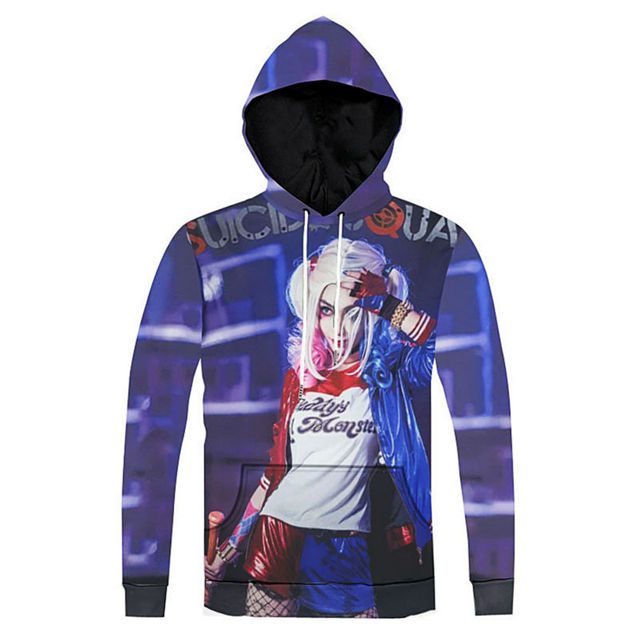 ece8af86a558 Harley Quinn Hoodies And Sweatshirts Men Suicide Squad Characters Pattern  Pullover 3D Print Autumn Winter Sudaderas Hombre Tops