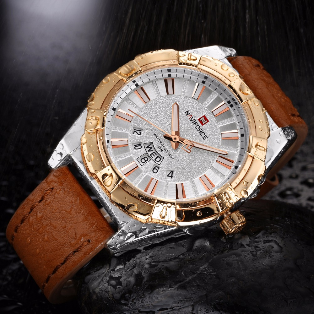 NAVIFORCE Fashion Casual Mens Watches Auto Date Leather Business Quartz  Watch Men Wristwatch Relogio Masculino 9118-in Quartz Watches from Watches  on ...