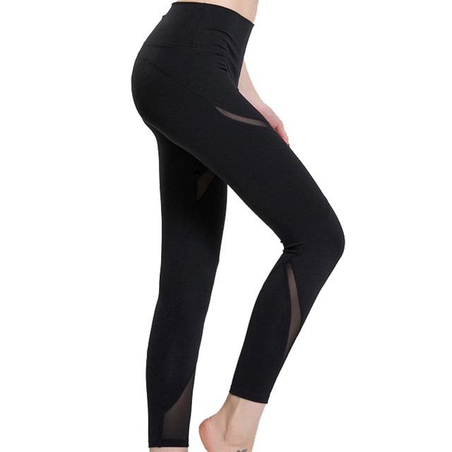 Hot Sale Workout Gyming Women's Legging Mesh Patchwork Fitness Sporting  Leggings High Elastic Breathable Sportswear For Woman