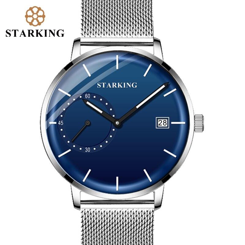 STARKING Dress Men Watch Steel Mesh Band Quartz Analog Wristwatch 3ATM Waterproof Curved Glass Blue Male Clock Relogio Masculino 5