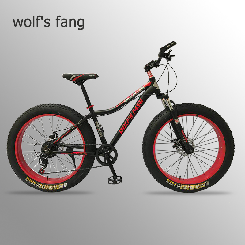 wolf s fang Mountain bike 7speed 26x4 0 Folding bike fat bike Double disc brakes Bicycles