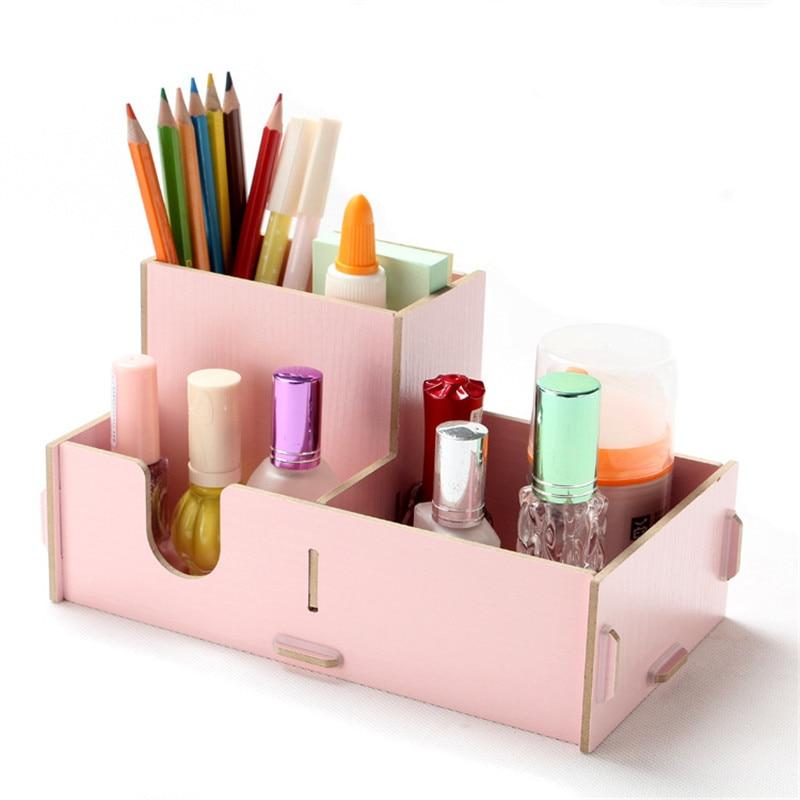 DIY деревянный Косметический Организатор составляют органайзера столе карандаш коробка для хранения всякой всячины шкатулка косметический...