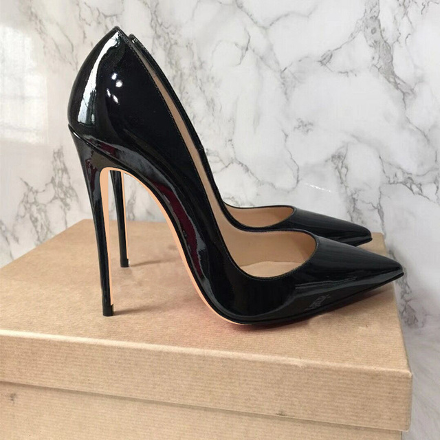91f75c8a71a Big Sale Sexy Pointed Toe High Heel Pumps Patente Leather Thin Heels Woman  Shoe Rose Pink Green Red Black Nude Dress Heels