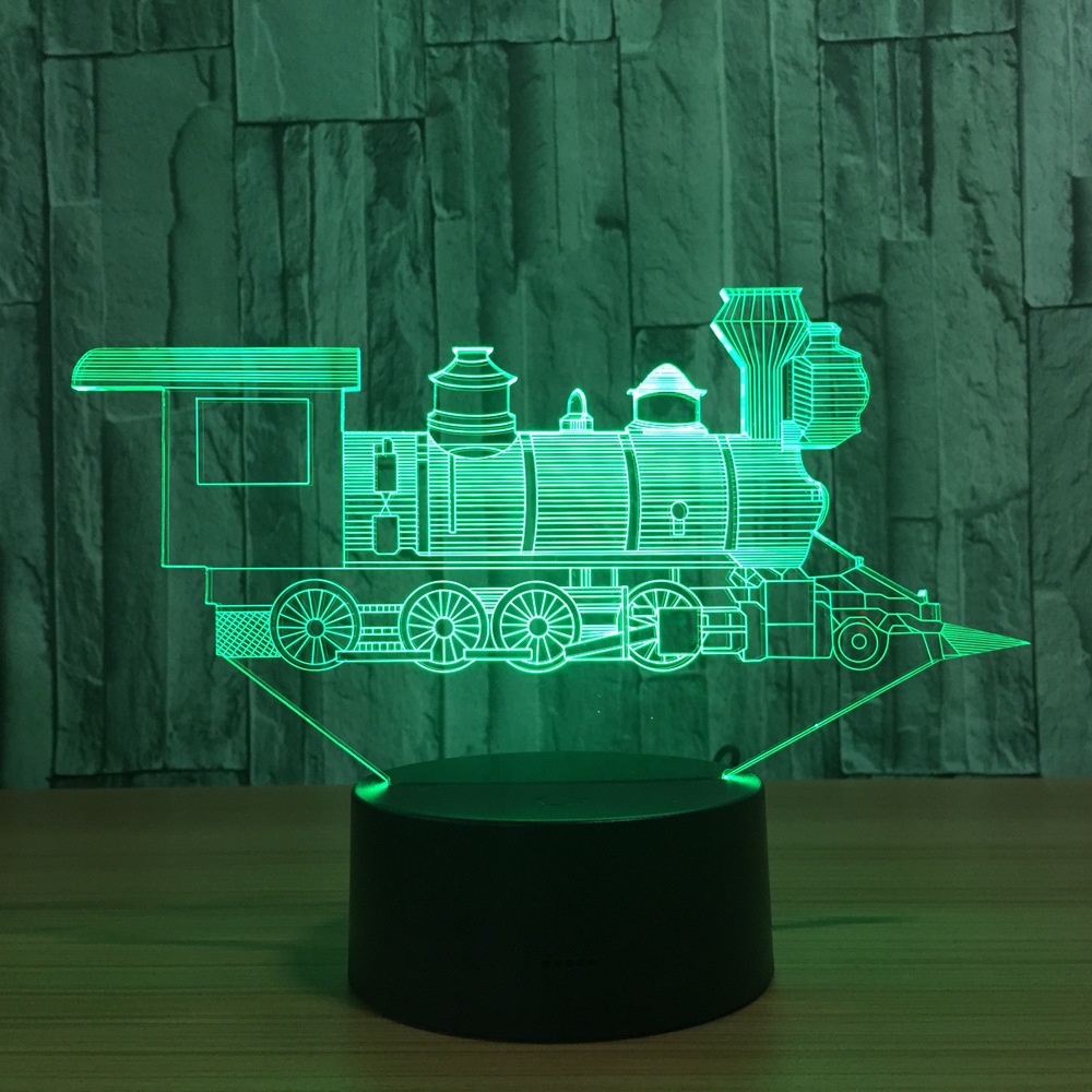 Cool Train Model 3D Night Light USB Novelty baby Gifts 7 Colors Changing LED Desk Table Lamp Decoration gift for children novelty led night light wireless remote control dimmable night lamp rgb kids children desk table lights usb 5v