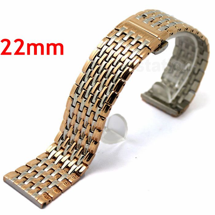 Rose gold Color 22mm Stainless Steel Band Watch Wrist Strap Bracelet Deployment Buckle With Push Button GD013322 прибор для измерения температуры 3 2