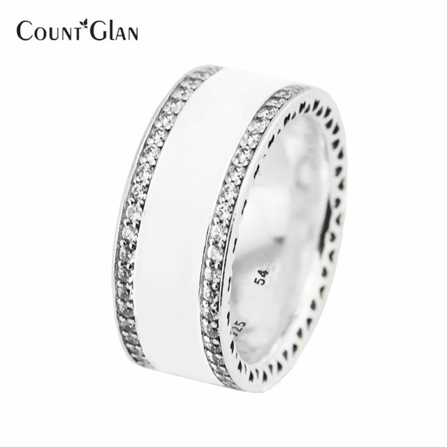 Hearts of Silver Enamel & Clear CZ Ring 100% 925 Sterling Silver Ring For Women Compatible with European Silver Jewelry
