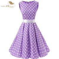 Belle tunique vestidos lilas noir blanc d'été plus la taille femmes vêtements swing polka dot élégant 50 s swing vintage robes 067
