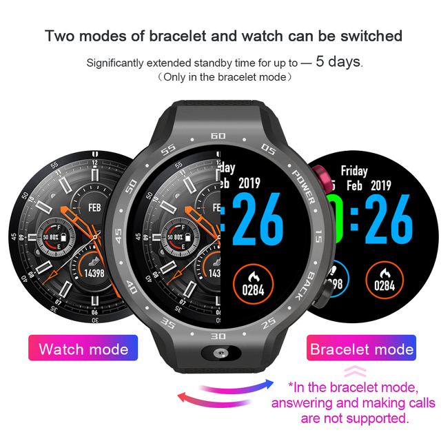 LEMFO LEM9 2019 New Arrival 4G GPS Smart Watch Android 7.1 And Fitness Bracelet Dual Systems 5MP Front Camera 5 Days Standby