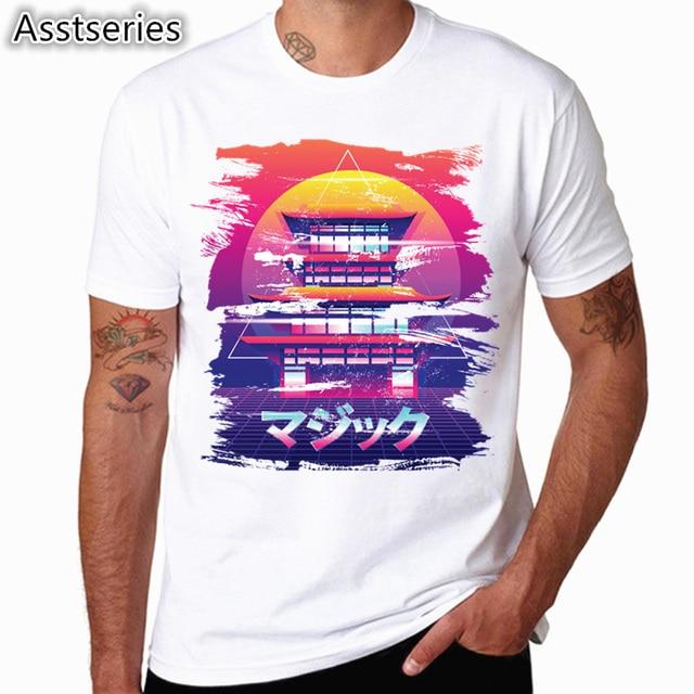 3951fe60 3D geometry Vaporwave T Shirt men Summer fashion High Quality t-shirt  casual white print O-Neck print male men top tees HCP4524