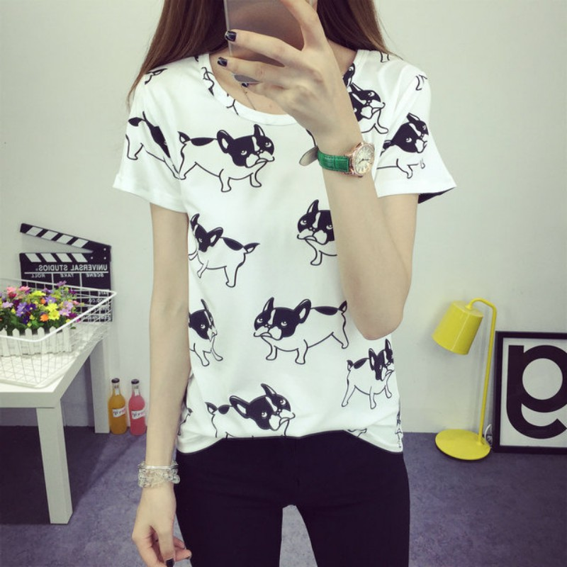 2017 Summer Women's Casual Animal Printed  Chiffon Blouse Clothes Girls Tee O-neck Polka Short Tops Bottoming Tops S4