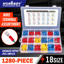 цена на HORUSDY 1280pcs Assorted Insulated Straight Butt Connectors Electrical Crimp Wire Cable Terminals Electrical Tool Accessories