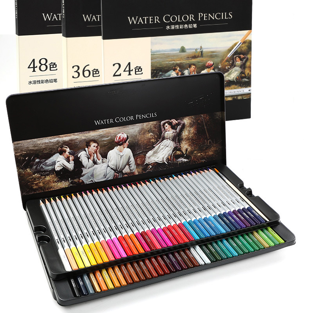 Artist lapis de cor profissional 36/48/72 colored pencils 72 Watercolor Pencils Lead Water-soluble Color Pencil Set Art Supplies 24 36 colors watercolor pencils lapis de cor professional lapis escolar school paint water soluble color hydrotropic carton