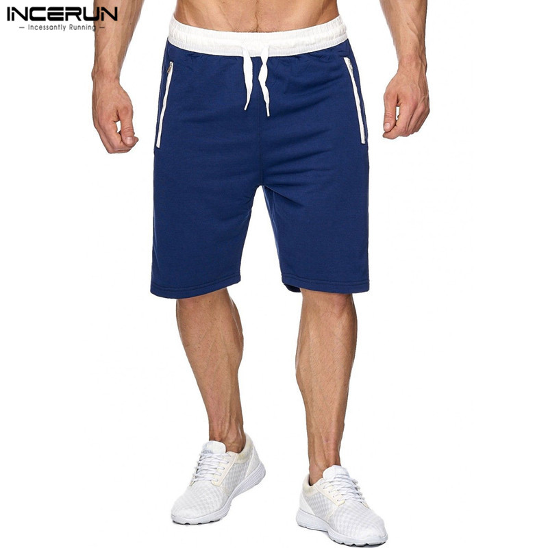 INCERUN Summer Casual Men Bodybuilding Knee Length Shorts Men Solid Joggers Shorts Sweatpants Trousers Mens Bermuda Shorts 2XL