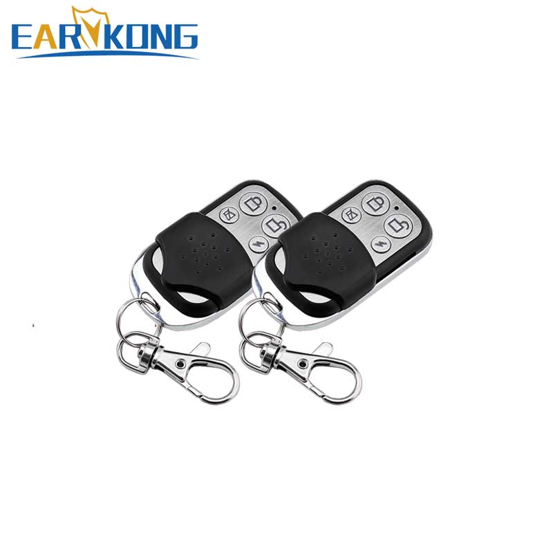 2 Pieces Of 433MHz Wireless Remote Controller 4 Button Metal Keychain For Our Wifi / GSM / PSTN Home Burglar Alarm System