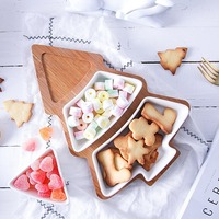 Christmas Tree Shaped Lovely Ceramic Dishes Dinner Plates Dinnerware Creative Festive Party Supplies With Bamboo Board