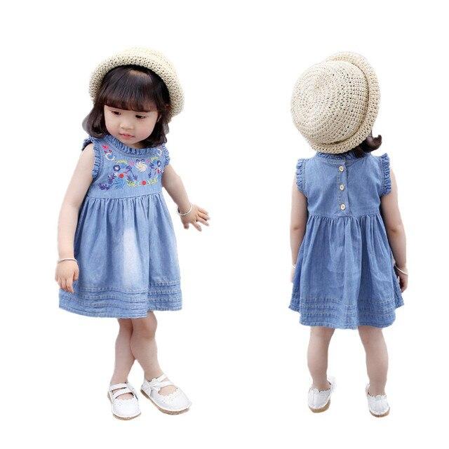 MBBGJOY Girls Denim Dress Flowers Embroidered Clothes for 1-5Y Kids Children Girl Dresses Sleeveless Clothing