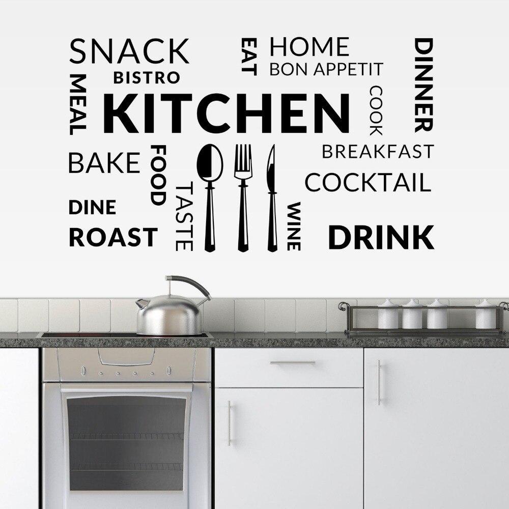 Único Etiquetas De La Pared De La Cocina Modelo - Ideas Del Gabinete ...