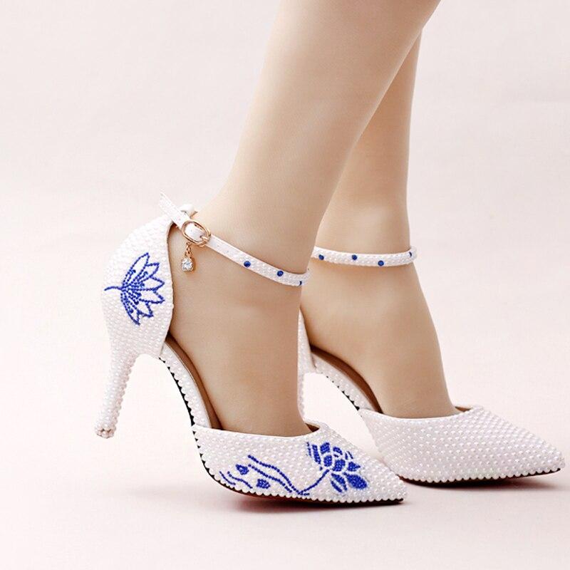 Alla 2018 Nuovo Sposa Cinturino Abito Heels Design Fiore A Caviglia Punta Bianco 9cm Scarpe Con Da Perla Strass Blu Splendido White ragdwrq4x