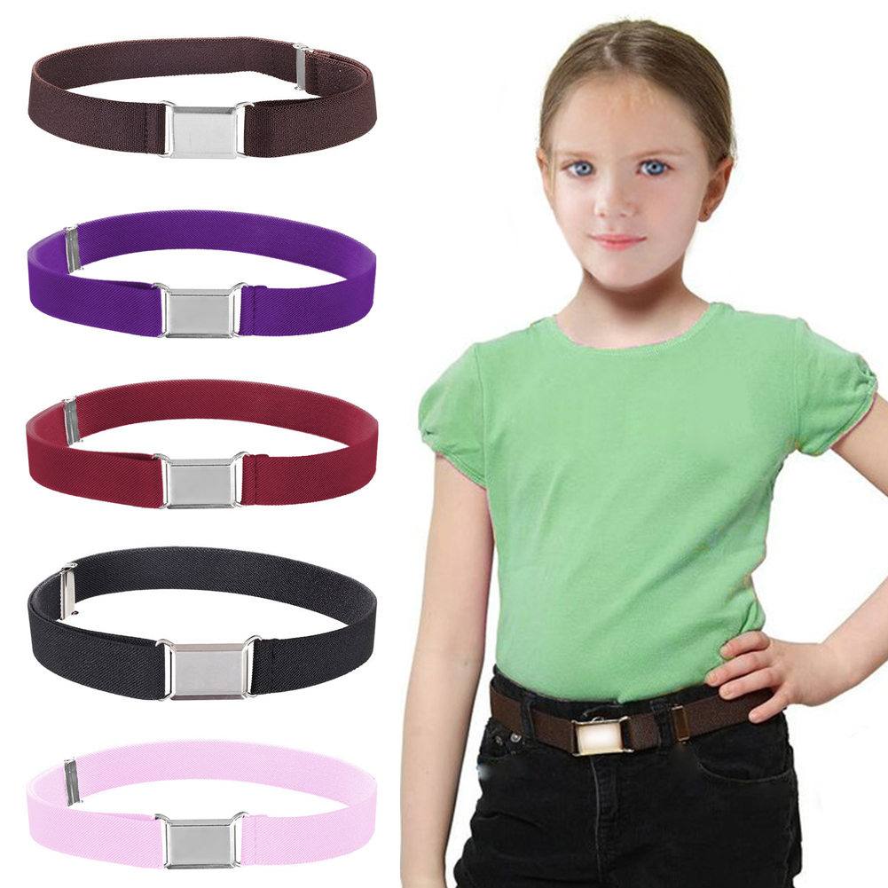 Kids Boys Girls Elastic Stretch Belt Adjustable All Match Solid With Wide Buckle Decorative Kid Waistband Casual Wear Resistant