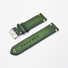 Leather Watch Band Watchband Strap 24mm Green Accessories Stainless Steel Men Woman High Quality 2018 #B