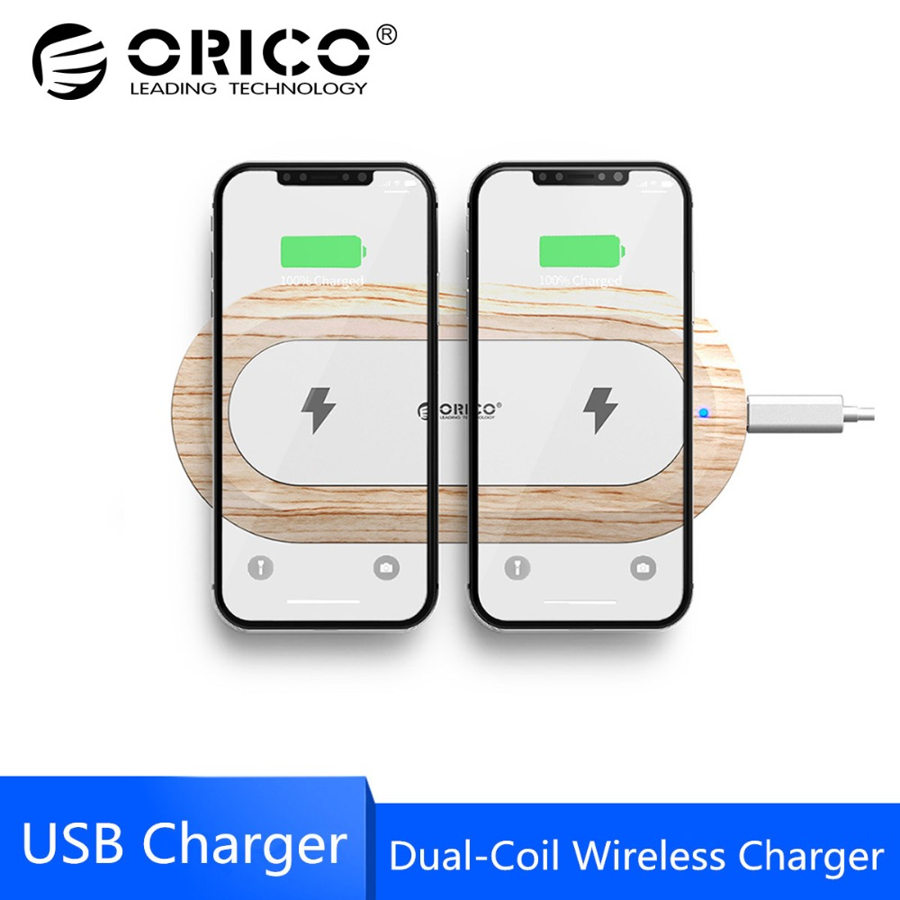 ORICO Dual Coil Wireless Charger for iPhone X 8 XS 5W Wireless Charging for Samsung Galaxy S8 S9 S7 Edge Qi USB Wireless Charger