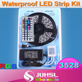 12V 3528 5m waterproof light strip+power adapter 24/44keys RGB color will with IR controller warm white/blue/red/Green/Yellow
