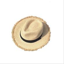 BINGYUANHAOXUAN 2018 Women's Straw Hat  Summer Hand-Woven Foldable Wide Brim Fisherman Raffia Straw Sun Hat white straw fisherman sandals