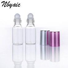 6 sztuk przezroczystego szkła olejek butelki obrotowe z szklany wałek kulki aromaterapia perfumy balsamy do ust rolki na butelki 5ml 10ml