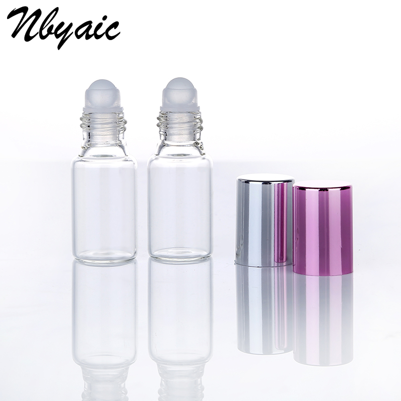 6pcs Clear Glass Essential Oil Roller Bottles with Glass Roller Balls Aromatherapy Perfumes Lip Balms Roll On Bottles 5ml 10ml 10ml high grade tower type empty essential oil bottles gold plated crystal aromatherapy bottles page 2