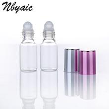 Botellas de cristal transparente con rodillo de cristal para aromaterapia, 6 uds., envases Roll On para perfume, 5ml, 10ml